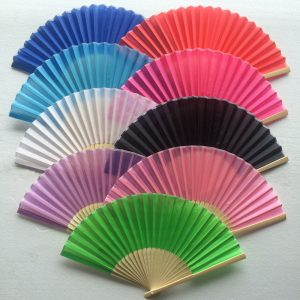 rose/fuchsia silk fans bamboo fans wedding gifts