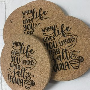 Bespoke cork beverage coasters print your logo on it