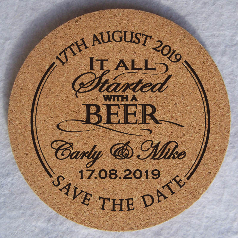 Personalised Cork Coasters Wedding Table Decoration Wedding Favours