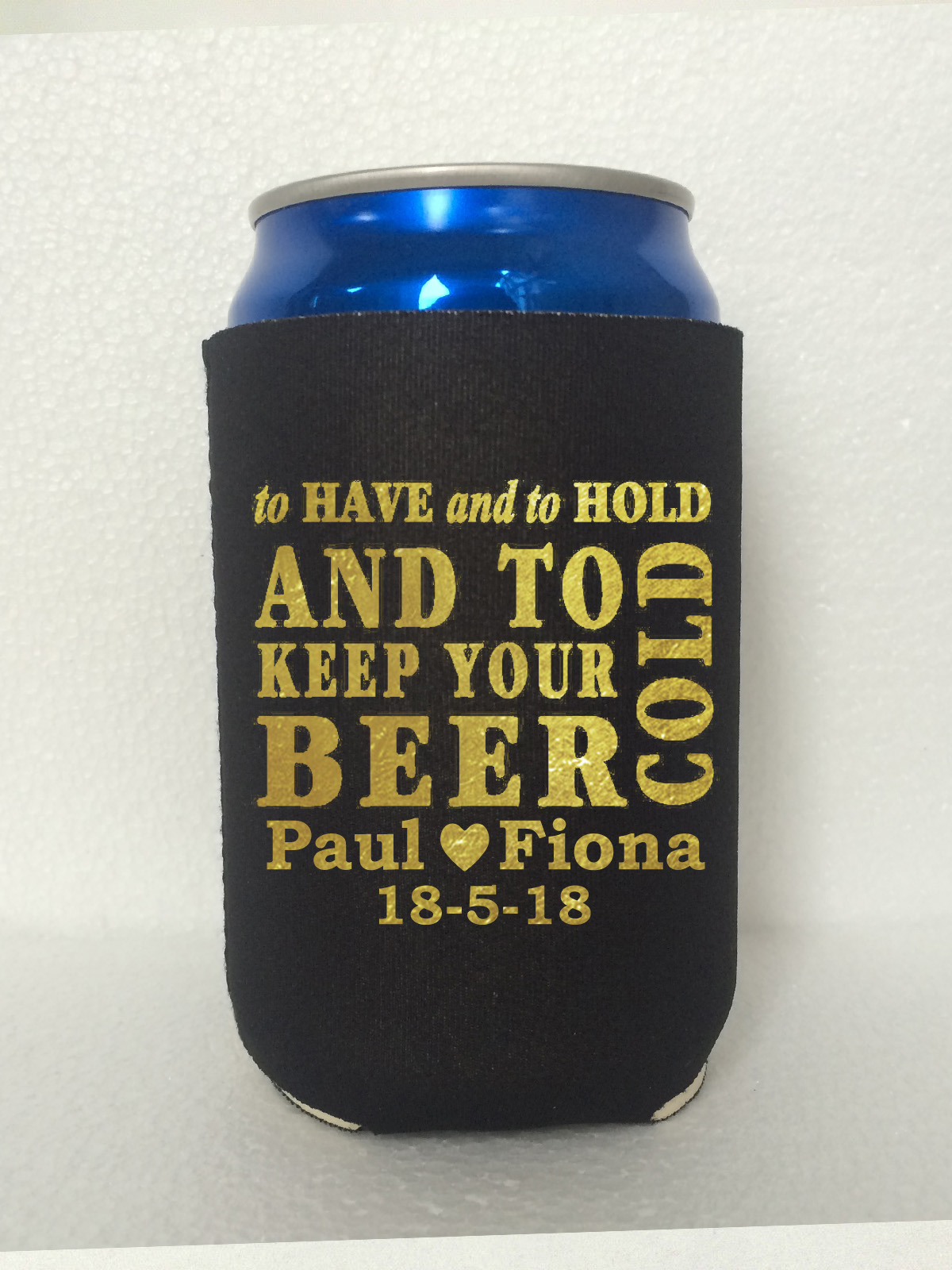 personalised wedding gold print koozies can cooler stubby holders