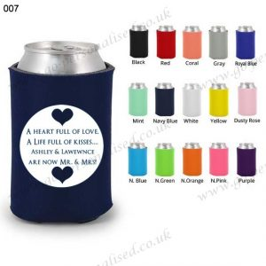 custom wedding coozie one color printing beer suit