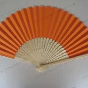 Wedding-Gift-Favor-Orange-paper-fan-free-postage-UK-NO-hidden-cost