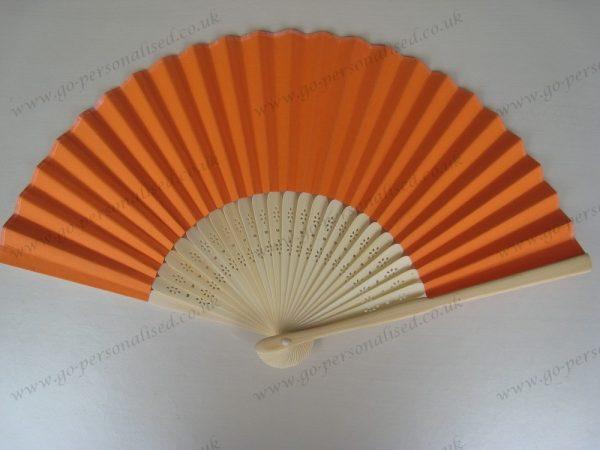 Wedding-Gift-Favor-Orange-paper-fan-free-postage-UK-NO-hidden-cost