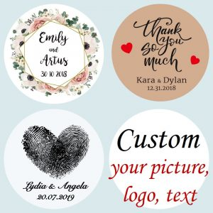 100 Pieces Custom Personalized Wedding Stickers customised bulk bespoke invitation tags trasparent or kraft stickers