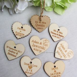 Personalized custom Engraved wedding name and date Love Heart 100 pcs wooden Wedding favour idea
