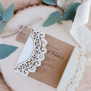 Wedding Invitations Cards +Tags Vintage 50Pcs Laser Cut Bridal Shower Gift Greeting Card Kits