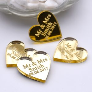 50pcs Personalized Engraved Love Heart shape ornament Wedding Table bulk cheap save the date Decoration