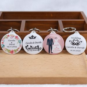 50pcs Personalized Keychain with Mirror printing designs Wedding Favors  Gifts idea  Souvenirs-in Party Favors