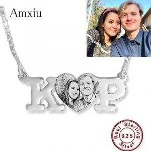 Necklace Engrave Picture Initials Name Pendant 925 Sterling Silver Personalized Photo