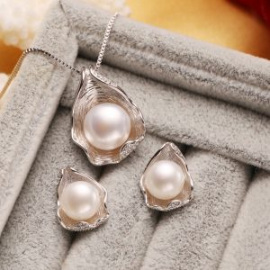 925 Sterling Silver CZ Freshwater Pearl Jewelry Sets Necklace Earrings Shell Design For Women Anniversary Birthday Gift