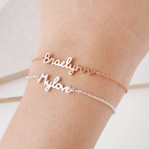 Personalised Name Bracelet Charms Handmade Women Engraved Message Customized bachelorette bridal shower favours