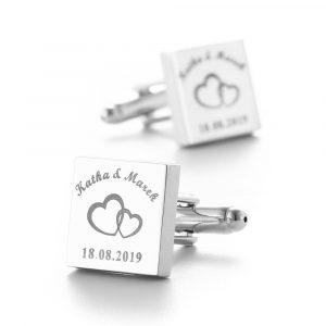 Cufflinks Sliver Square Customized Cufflink Wedding Gifts for Groom Laser Engraved stag party best man groomsman gifts favors