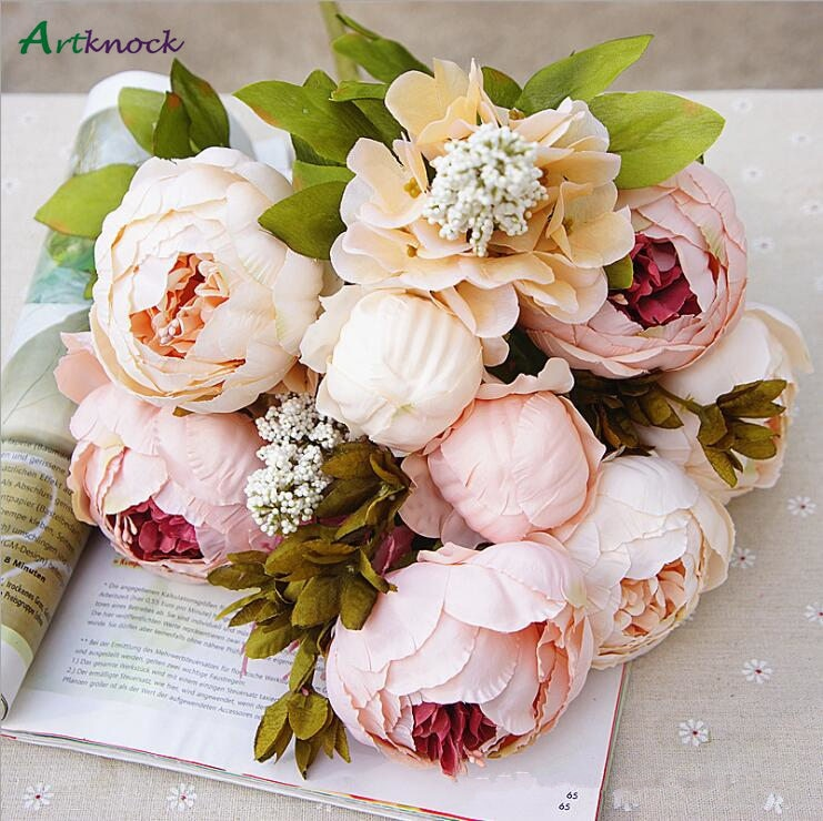 Cheap Artificial Peony Silk Fake Flowers Decorative Party