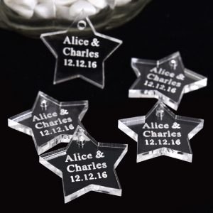 50PCS Personalised Engraved Love Star Wedding Table Centerpieces Tag Name Decor Baptism Birthday Gift Favors