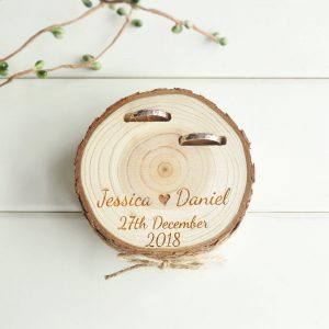 Customized Wedding Gifts Ring Box Personalised Ring Holder Nature Wood Slice  Engagement favor