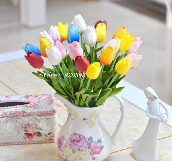 Free-shipping-31PCS-LOT-pu-mini-tulip-flower-real-touch-wedding-flower-bouquet-artificial-silk-flowers-1