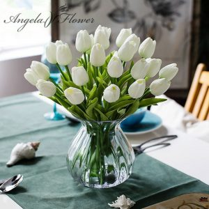 Free-shipping-31PCS-LOT-pu-mini-tulip-flower-real-touch-wedding-flower-bouquet-artificial-silk-flowers