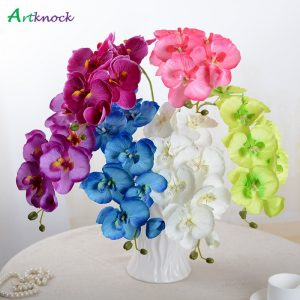 10Pcs/lot Lifelike Artificial Butterfly Orchid flower Silk Phalaenopsis Wedding Home photo favours free shipping