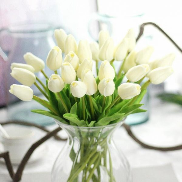 1Pc-Artificial-tulips-Flower-for-spring-home-wedding-decoration-flores-Cheap-PU-Fake-flowers-Artificiales-white