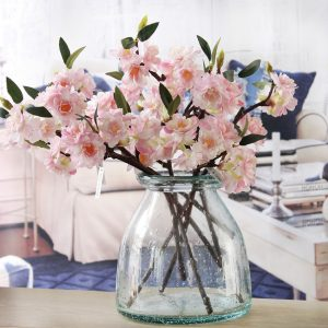 cheap bulk Artificial Cherry blossoms Silk+Plastic flowers Sakura branch for Home hotel  shop wedding occasion decoration ornament christmas eve party