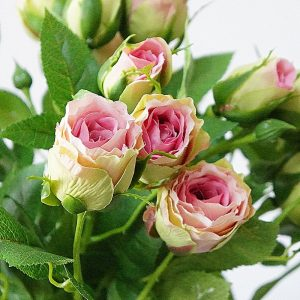 decorative 4 Heads Artificial rose branch silk+plastic flores wedding decoration rose