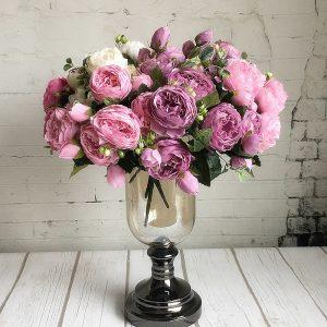 cheap bulk Beautiful Rose Peony Artificial Silk Flowers small bouquet  fake Flower anniversary baby shower