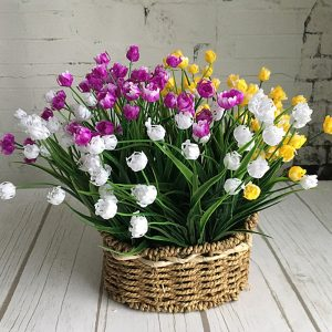 23 Heads Mini Tulips bouquet plastic Artificial Flower for spring home wedding decoration white tulip fake flowers prom decorations