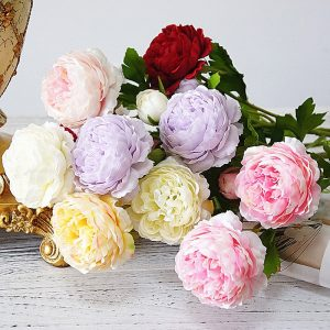 3 Heads Artificial Rose Peony Flower branch with leaves Silk flores peonies for indoor Home table decor wedding decoration party supply