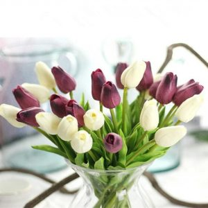 30pcs per lot Artificial mini Tulips Flower bouquet decorative Real touch PU fake flowers gifts for her