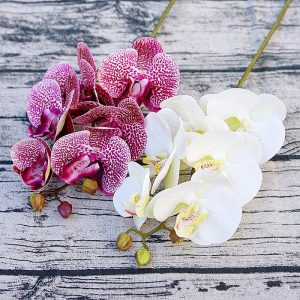 6Heads Artificial Orchid Flowers fake Moth blue artificial flowers Butterfly Orchid graduation birthday decorations