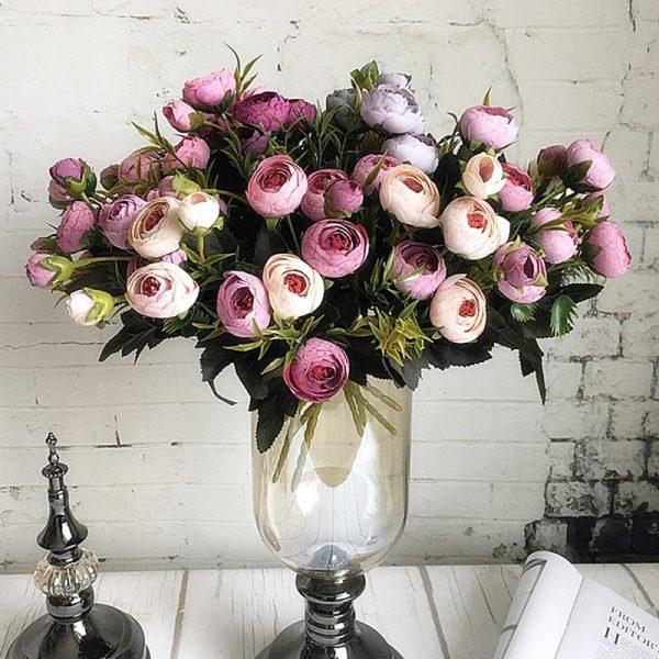 9Heads-mini-silk-Artificial-Flowers-peony-flores-fleur-artificielles-Camellia-for-Home-christmas-decoration-fake-Flower