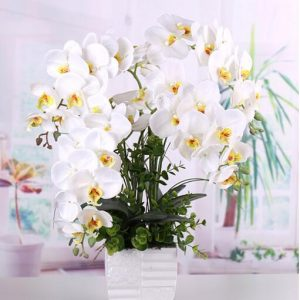 Artificial Butterfly white Orchid flower Silk+Plastic flower party decorations