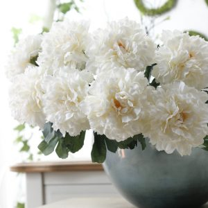 Artificial peony flowers Short branch flores fake silk Flowers for autumn fall Home party garden Decoration wreath prom party