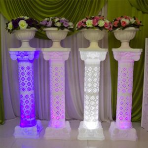 Hollow Design Luminous Wedding Roman Column LED Pillar White Red Blue Purple Available for Party Decoration Supplies baby shower anniversary mother's day