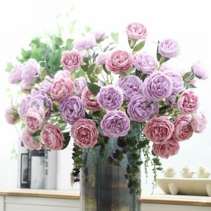 cheap 3Heads Artificial Peony Flower silk wedding decor  company annual party supply