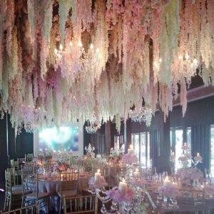 Artificial Wisteria Flower Vine Silk Hydrangea rattan Wedding birthday baby shower dancing party Decoration Backdrop Flowers