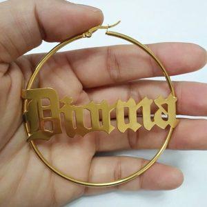 Pair Big Round Circle Custom Name Stud Earrings Personalized Stainless Steel Pendientes Handmade Jewelry