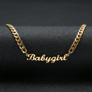 Custom Name Necklaces Gold Cuban Chain Stainless Steel Nameplate Pendant Necklace Jewelry luxury gifts for the woman who has everything