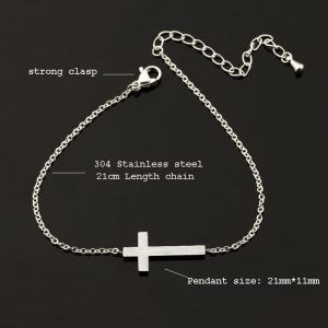 Crucifix Jesus Christian Cross Bracelets for Women Men Stainless Steel Gold Silver Color religion gifts