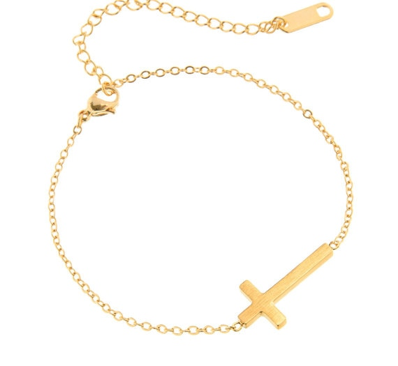 Crucifix-Jesus-Christian-Horizontal-Sideways-Cross-Bracelets-for-Women-Men-Stainless-Steel-Gold-Silver-Color-Bridesmaids-3
