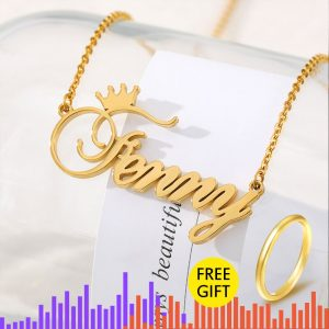 Custom Nameplate Personalized  Crown Name Necklace For Girls Kids Silver Rose Gold Stainless Steel sentimental gift best friend