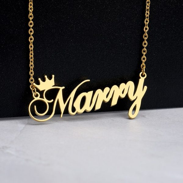 Custom-Nameplate-Personalized-Cursive-Crown-Name-Necklace-For-Girls-Kids-Silver-Rose-Gold-Stainless-Steel-Chain-2