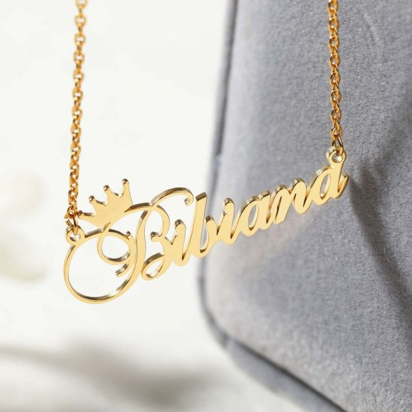 Custom-Nameplate-Personalized-Cursive-Crown-Name-Necklace-For-Girls-Kids-Silver-Rose-Gold-Stainless-Steel-Chain-3