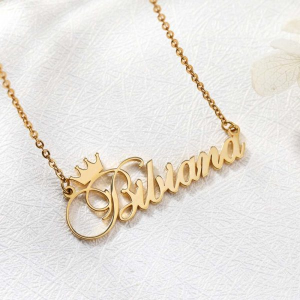 Custom-Nameplate-Personalized-Cursive-Crown-Name-Necklace-For-Girls-Kids-Silver-Rose-Gold-Stainless-Steel-Chain-4