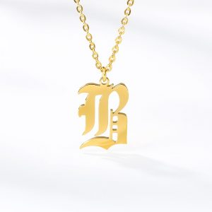 Gold  Letters Jewelry Necklaces for Women Choker capital letter pendant