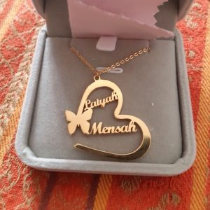 Handmade Stainless Steel Butterfly Heart Pendants Custom Name Necklaces gold ladies gift items for birthday