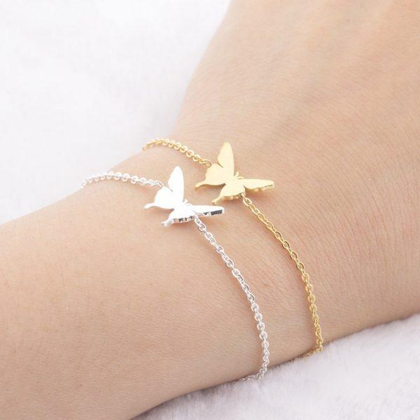Lovely-Butterfly-Charm-Bracelet-for-Kids-Women-Friendship-Best-Friend-Gift-Butterflies-Bracelet-Bangle-Stainless-Steel