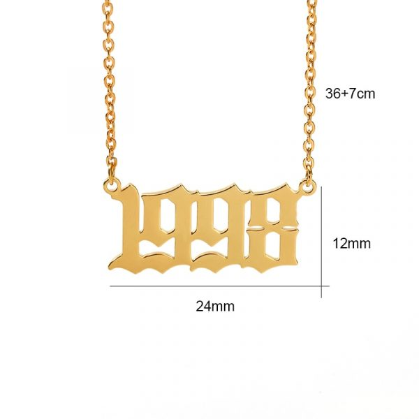 Old-English-1985-To-2020-Date-Of-Birth-Number-Necklaces-Stainless-Steel-Rose-Gold-Letter-Year-3