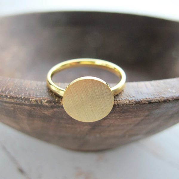 Rose-Gold-Color-Full-Moon-Rings-For-Women-Men-Stainless-Steel-Band-Simple-Brushed-Karma-Circle