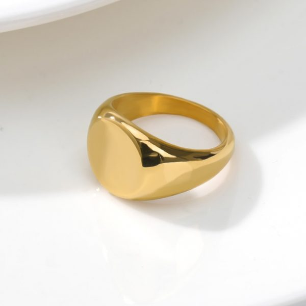 Simple-Square-Gold-Width-Signet-Polished-Round-Punk-Ring-Stainless-Steel-Biker-Nightclub-Jewelry-Gift-New-3